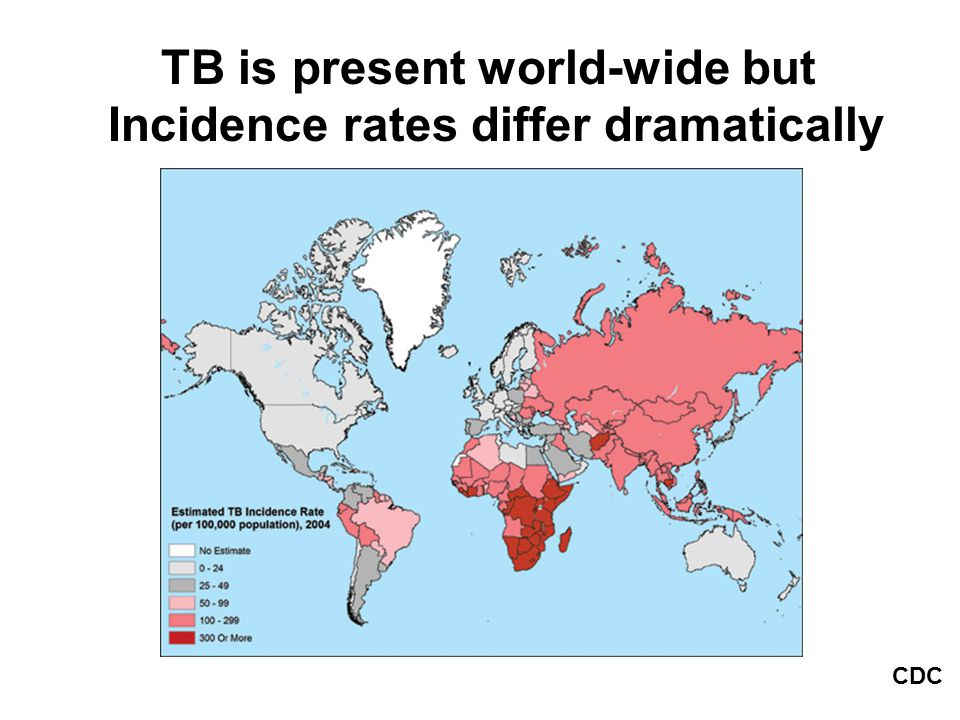 TB is present world-wide but Incidence rates differ dramatically