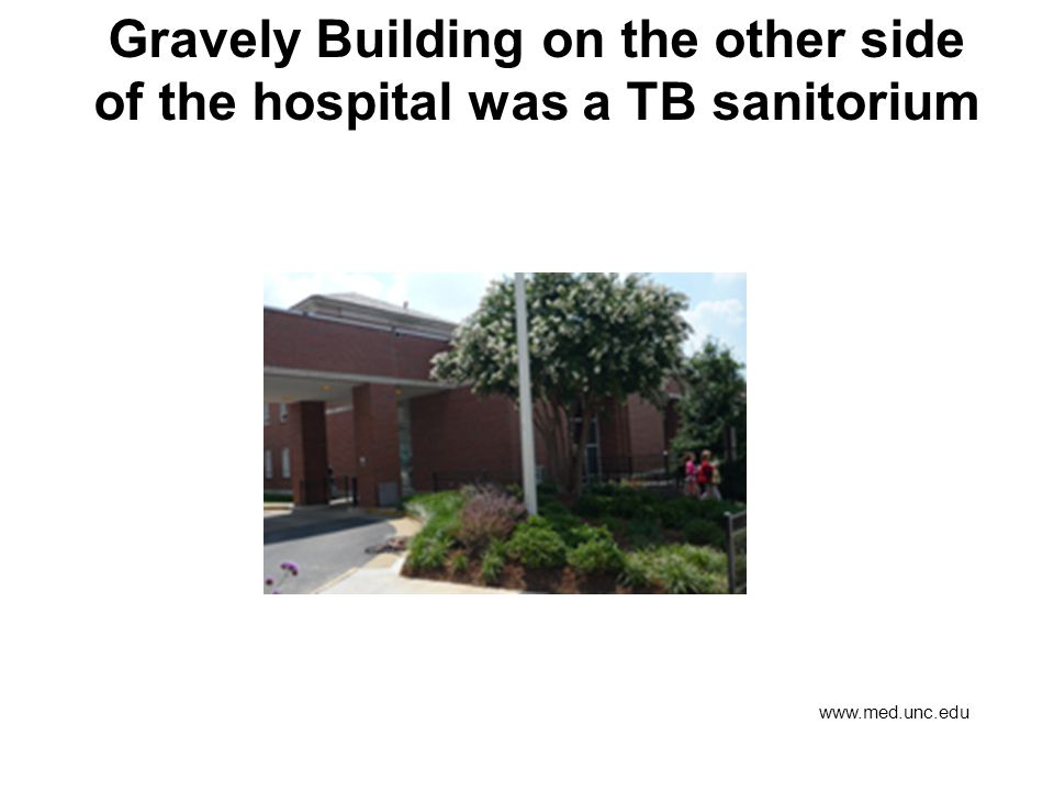 Gravely Building on the other side of the hospital was a TB sanitorium