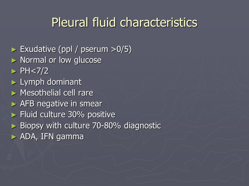 Pleural fluid characteristics