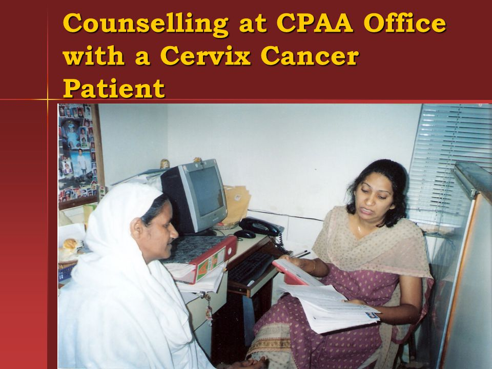 Counselling at CPAA Office with a Cervix Cancer Patient