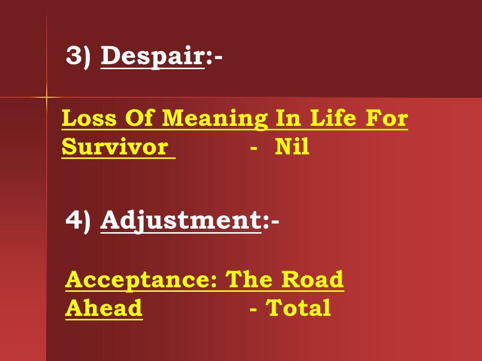 3) Despair:- 4) Adjustment:-