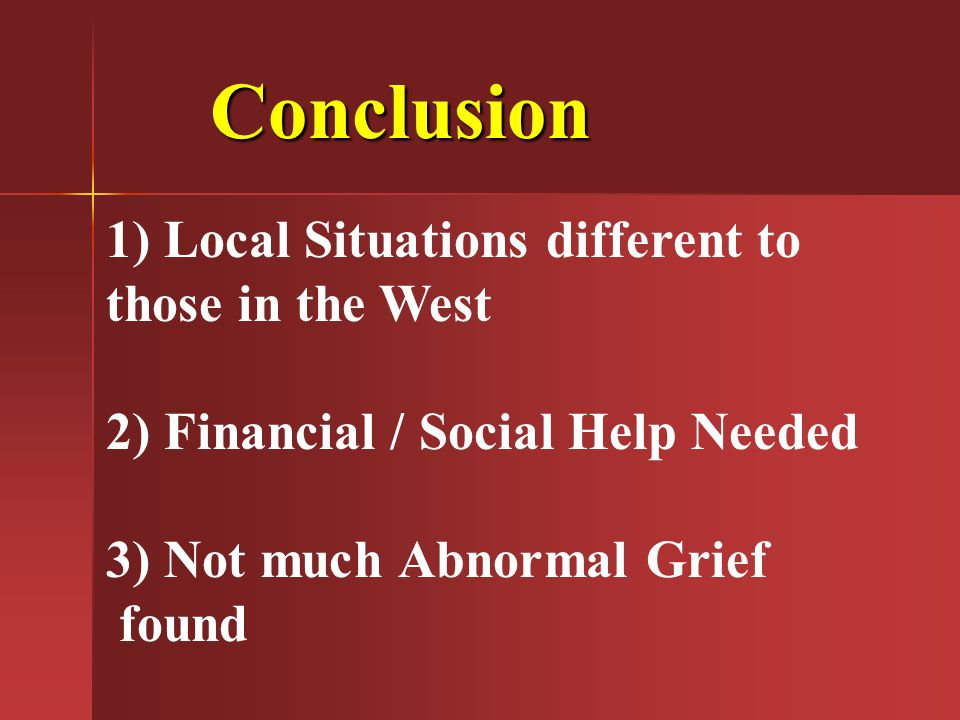 Conclusion 1) Local Situations different to those in the West