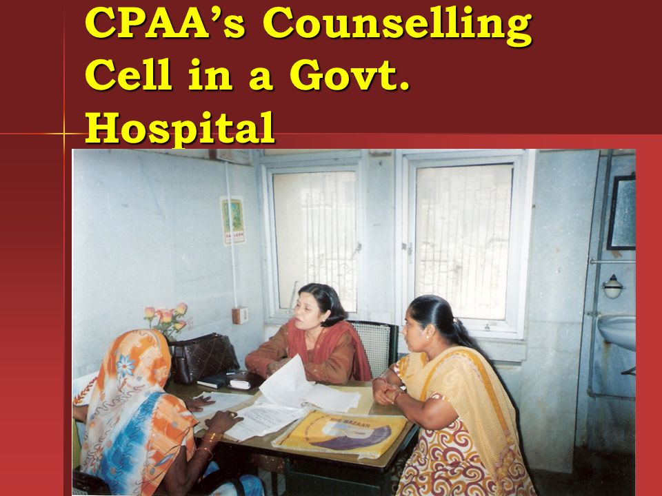 CPAA's Counselling Cell in a Govt. Hospital