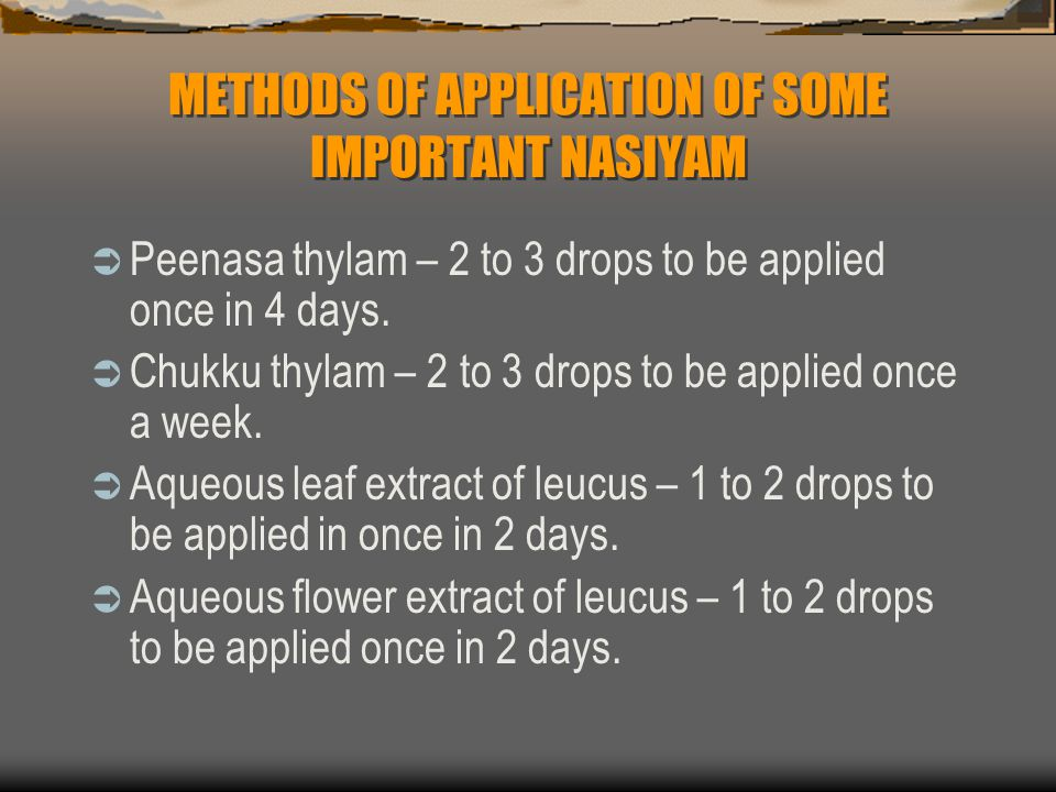 METHODS OF APPLICATION OF SOME IMPORTANT NASIYAM