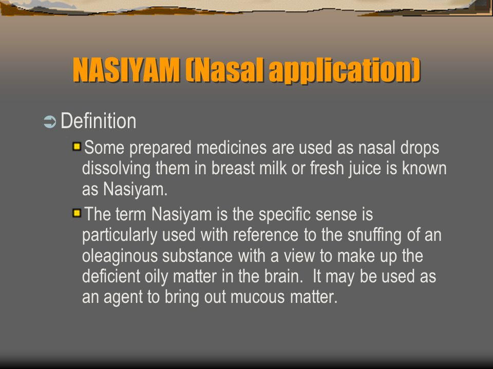 NASIYAM (Nasal application)