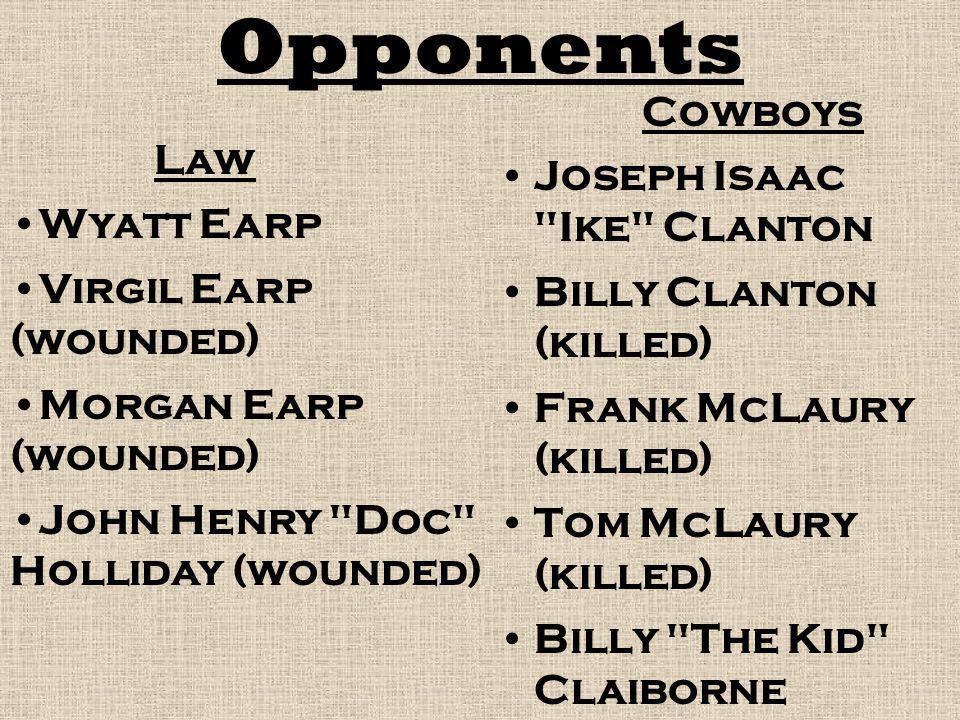 Opponents Cowboys Joseph Isaac Ike Clanton Law Wyatt Earp