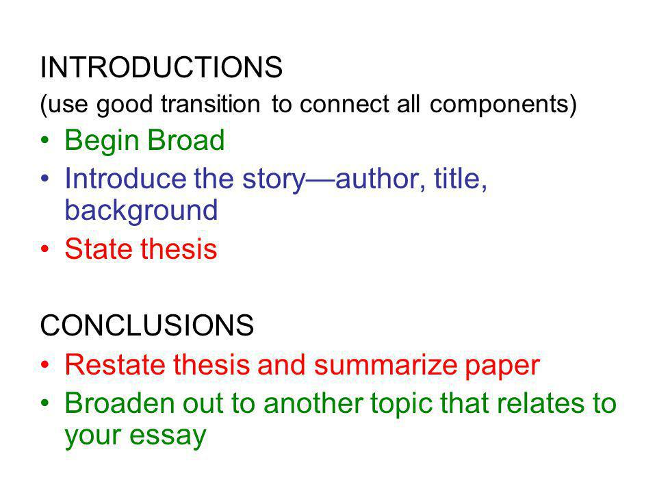 Introduce the story—author, title, background State thesis CONCLUSIONS