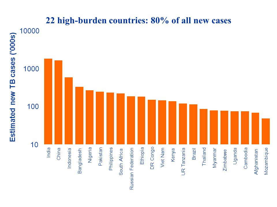 22 high-burden countries: 80% of all new cases
