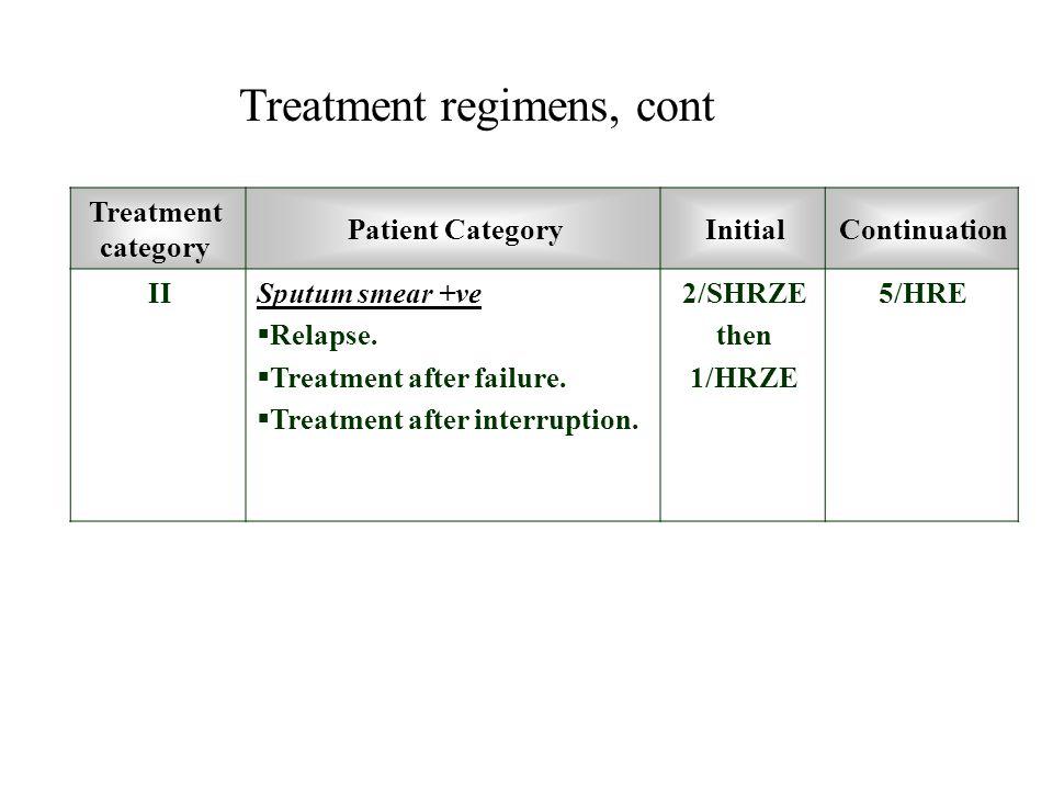 Treatment regimens, cont
