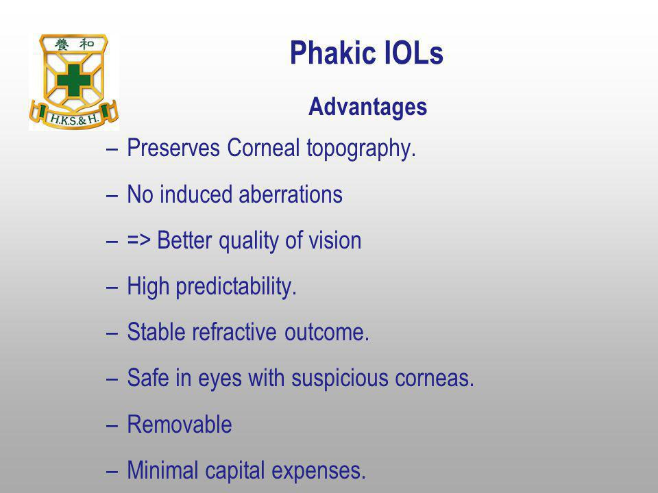 Phakic IOLs Advantages Preserves Corneal topography.