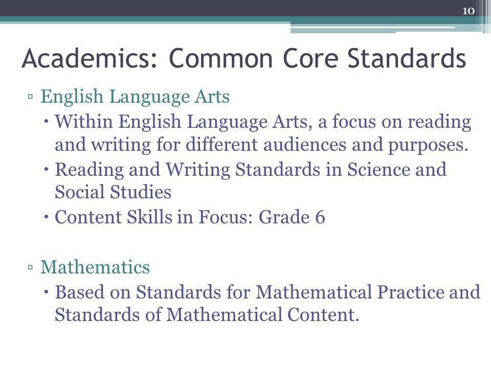 Academics: Common Core Standards