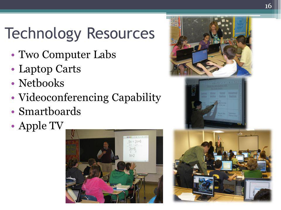 Technology Resources Two Computer Labs Laptop Carts Netbooks