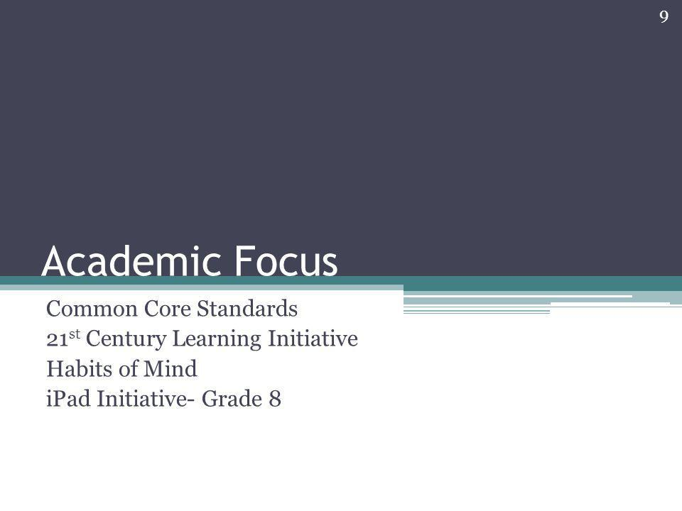 Academic Focus Common Core Standards 21st Century Learning Initiative