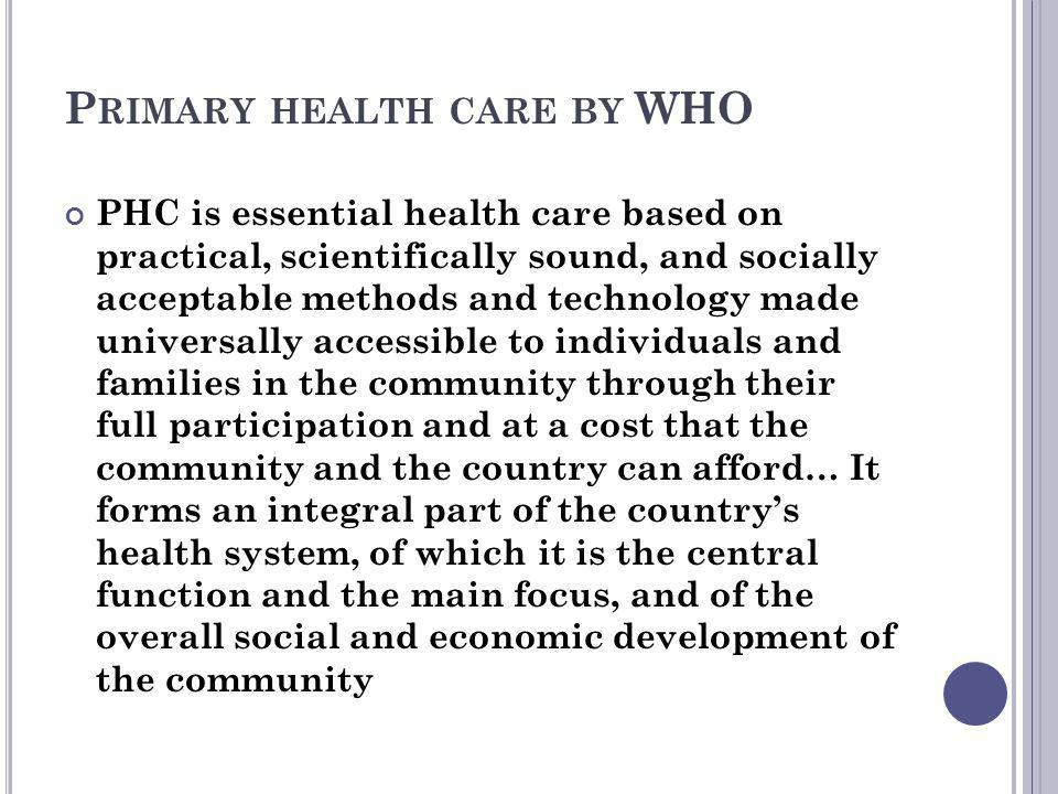 Primary health care by WHO