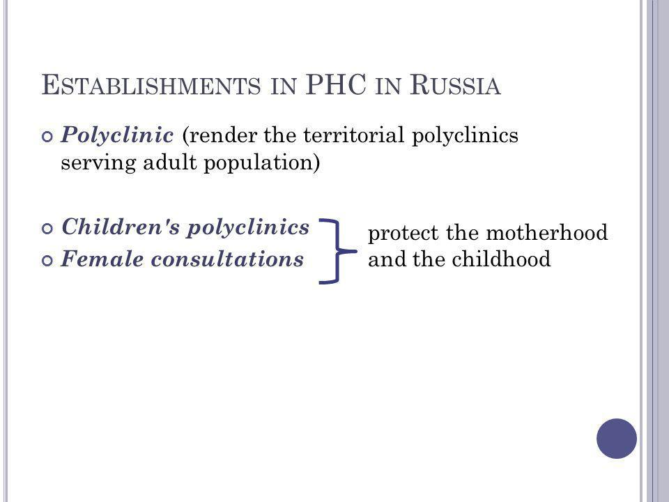 Establishments in PHC in Russia