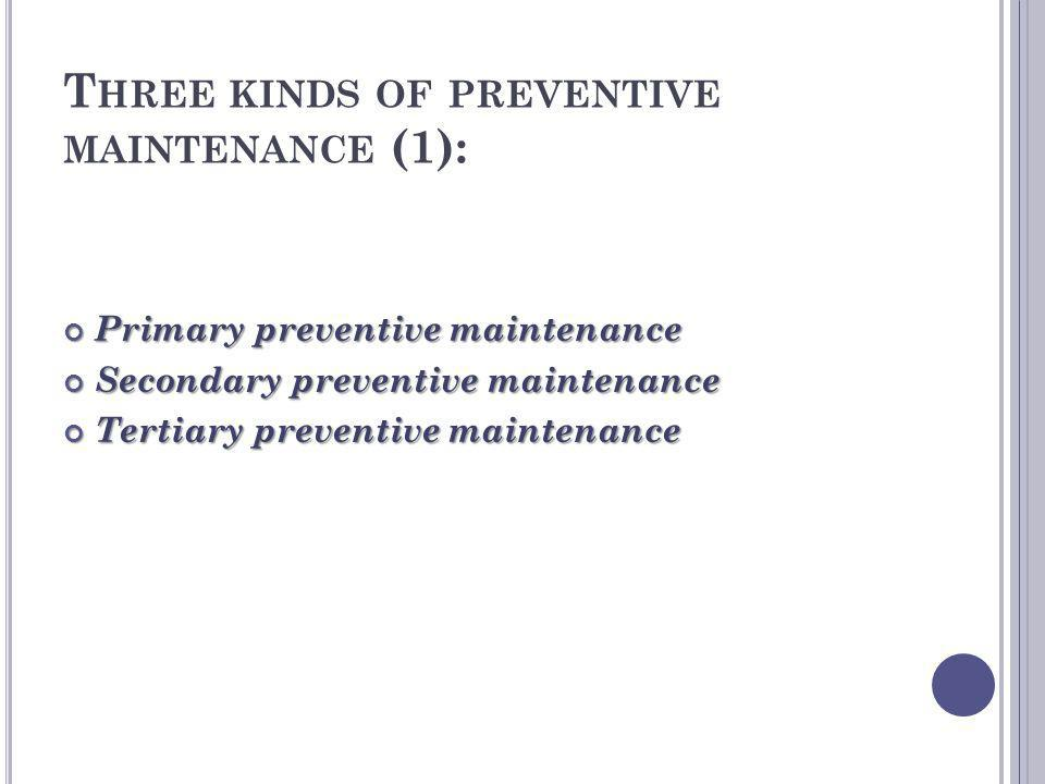 Three kinds of preventive maintenance (1):
