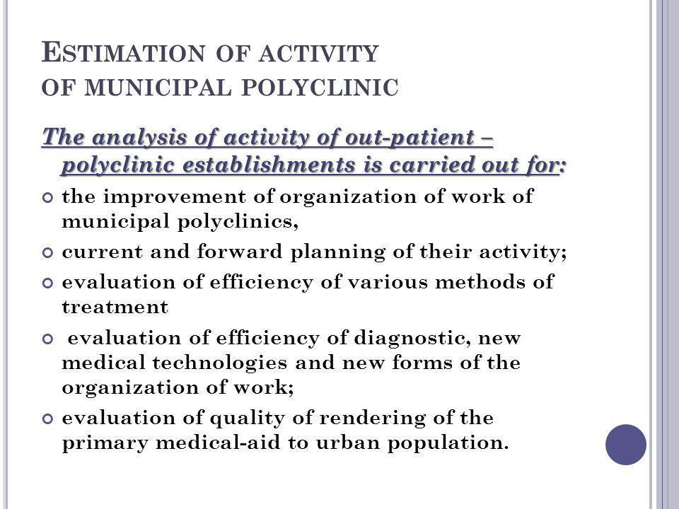 Estimation of activity of municipal polyclinic
