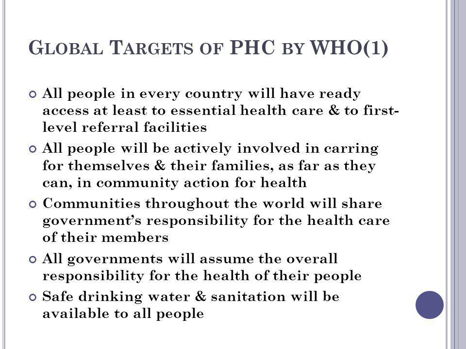 Global Targets of PHC by WHO(1)
