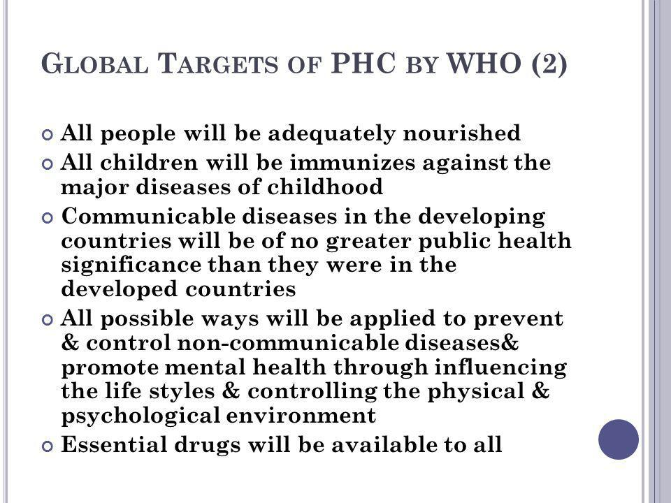 Global Targets of PHC by WHO (2)