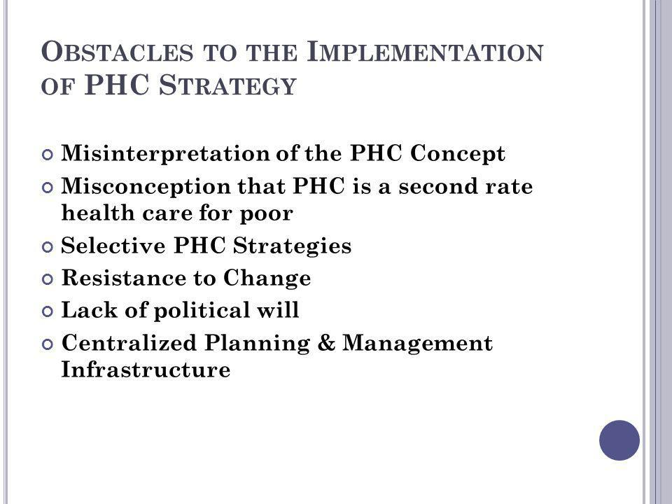 Obstacles to the Implementation of PHC Strategy