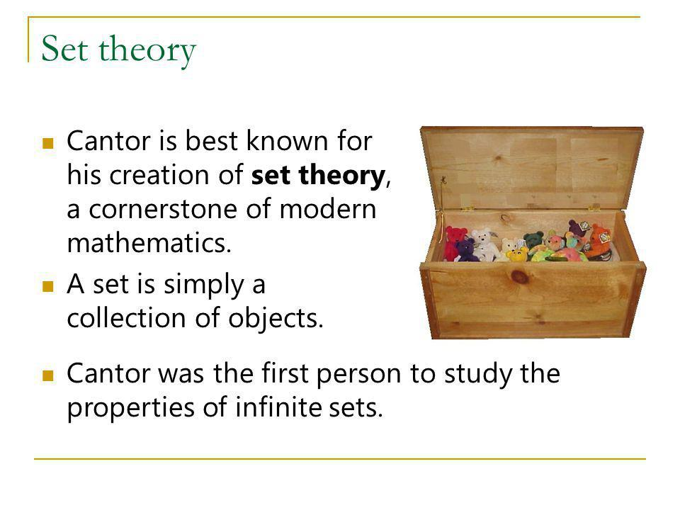 Set theory Cantor is best known for his creation of set theory, a cornerstone of modern mathematics.