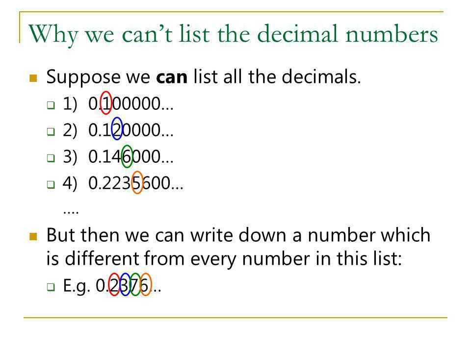 Why we can't list the decimal numbers