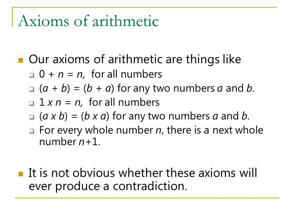 Axioms of arithmetic Our axioms of arithmetic are things like
