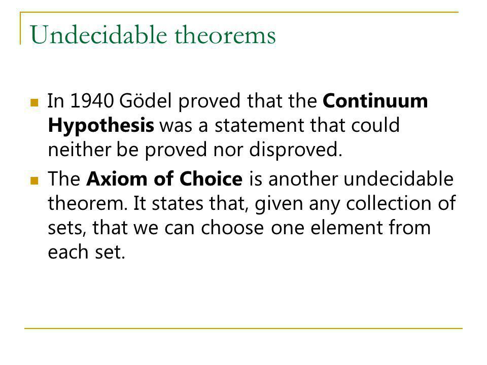 Undecidable theorems In 1940 Gödel proved that the Continuum Hypothesis was a statement that could neither be proved nor disproved.