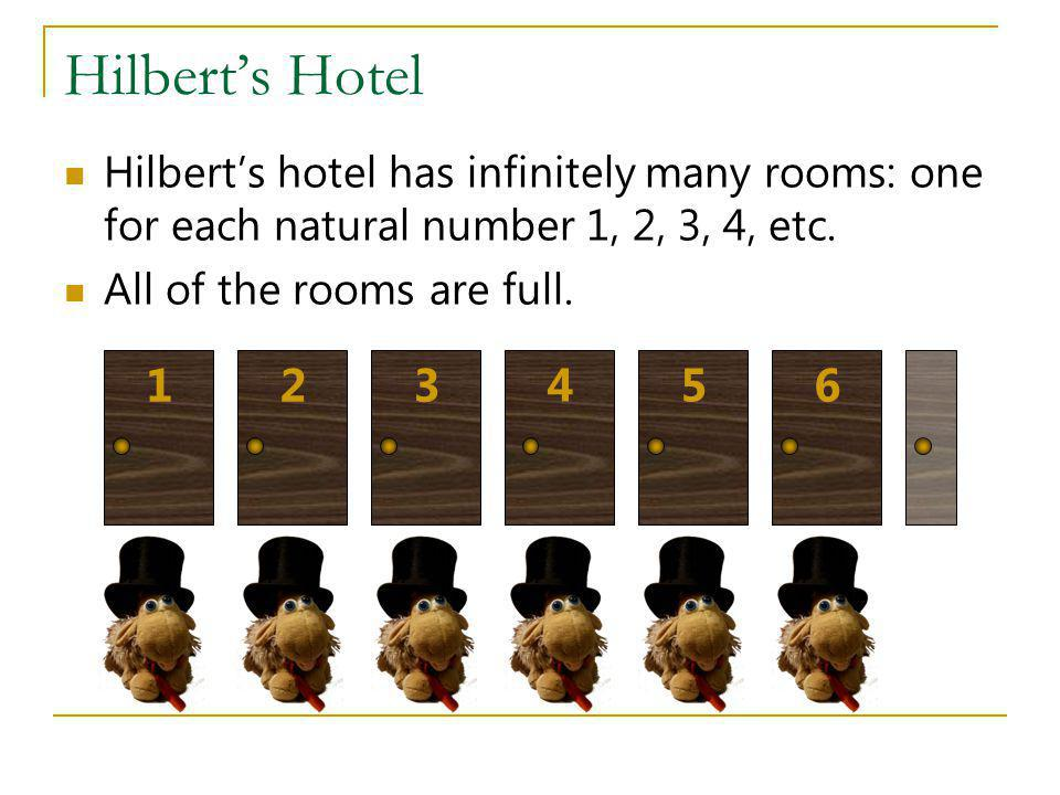 Hilbert's Hotel Hilbert's hotel has infinitely many rooms: one for each natural number 1, 2, 3, 4, etc.