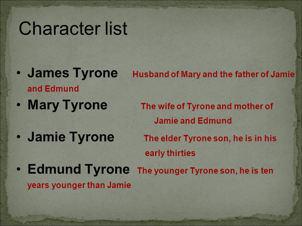 Character list James Tyrone Husband of Mary and the father of Jamie and Edmund.