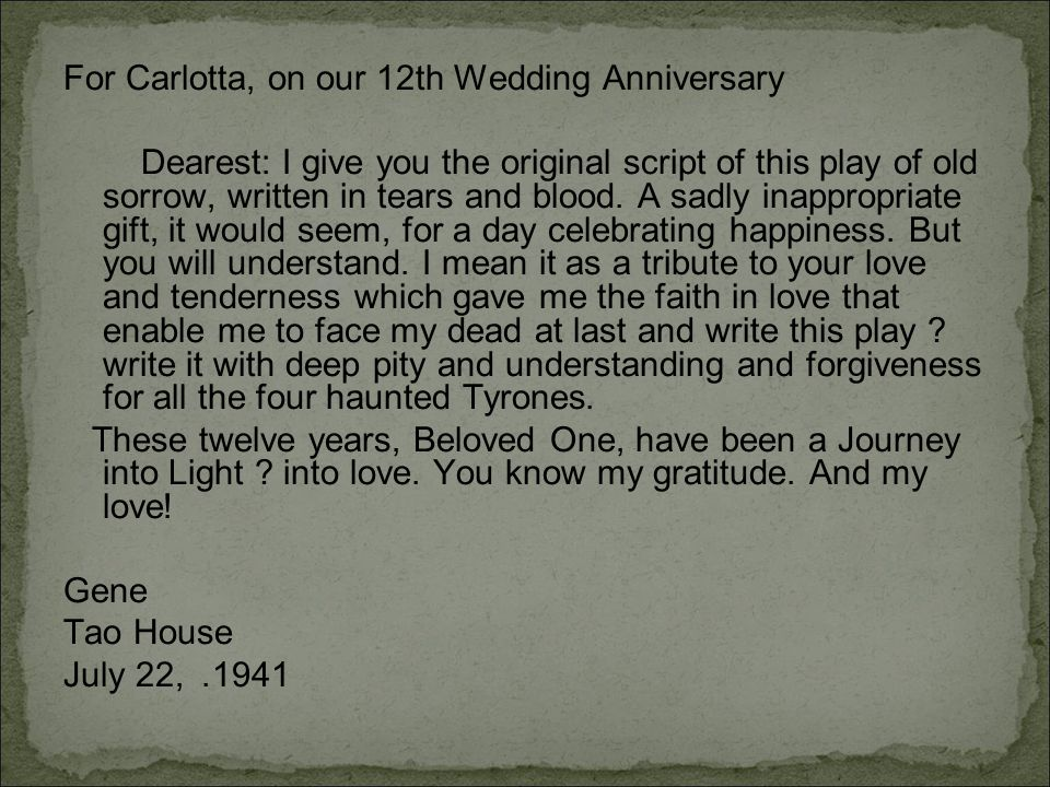 For Carlotta, on our 12th Wedding Anniversary