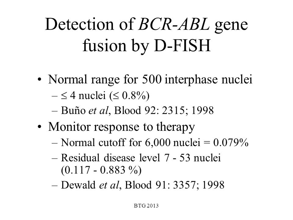 Detection of BCR-ABL gene fusion by D-FISH