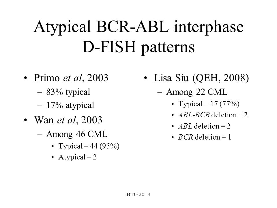 Atypical BCR-ABL interphase D-FISH patterns
