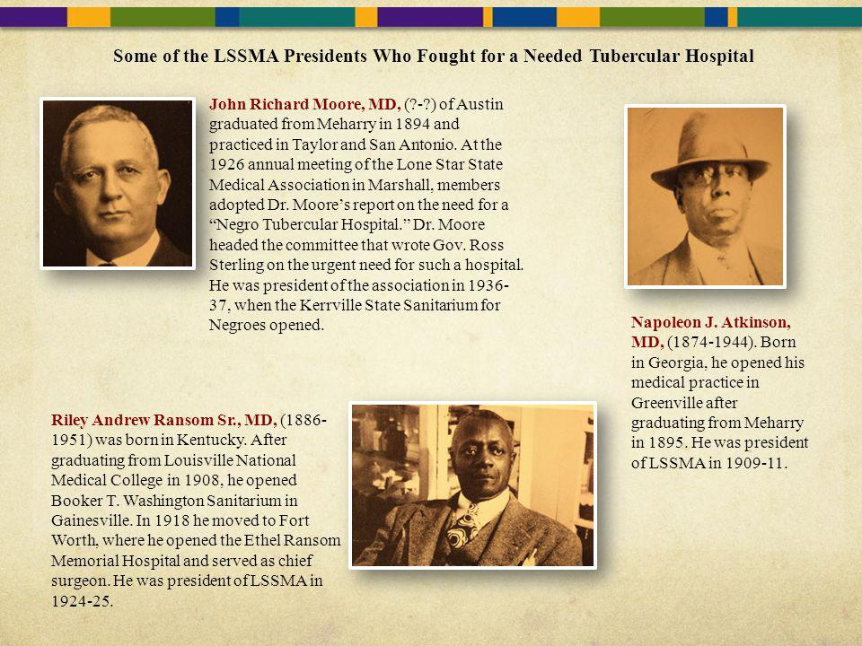 Some of the LSSMA Presidents Who Fought for a Needed Tubercular Hospital