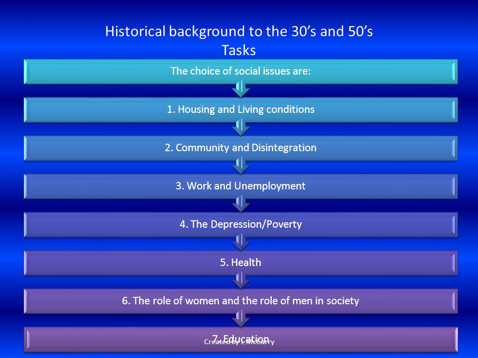 Historical background to the 30's and 50's Tasks