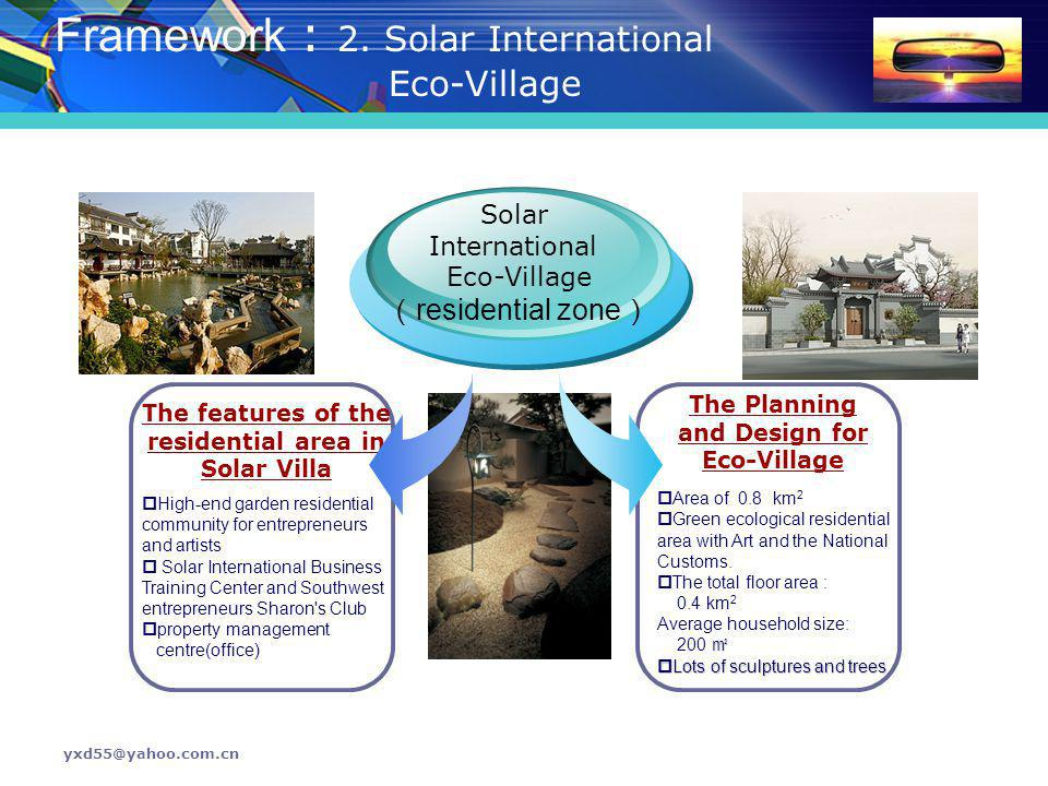 The features of the residential area in Solar Villa
