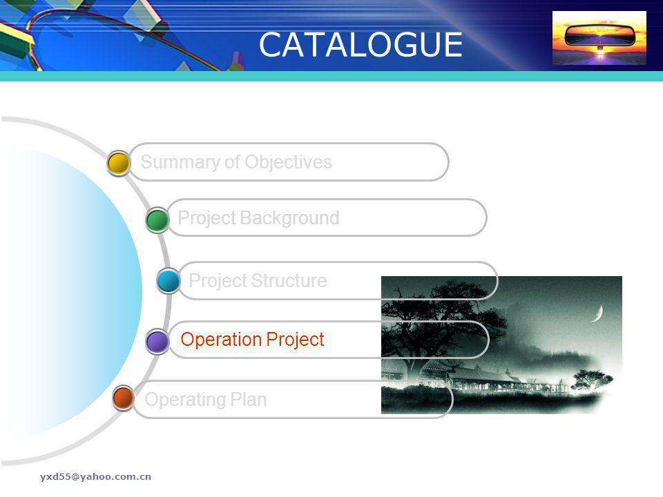 CATALOGUE Summary of Objectives Project Background Project Structure