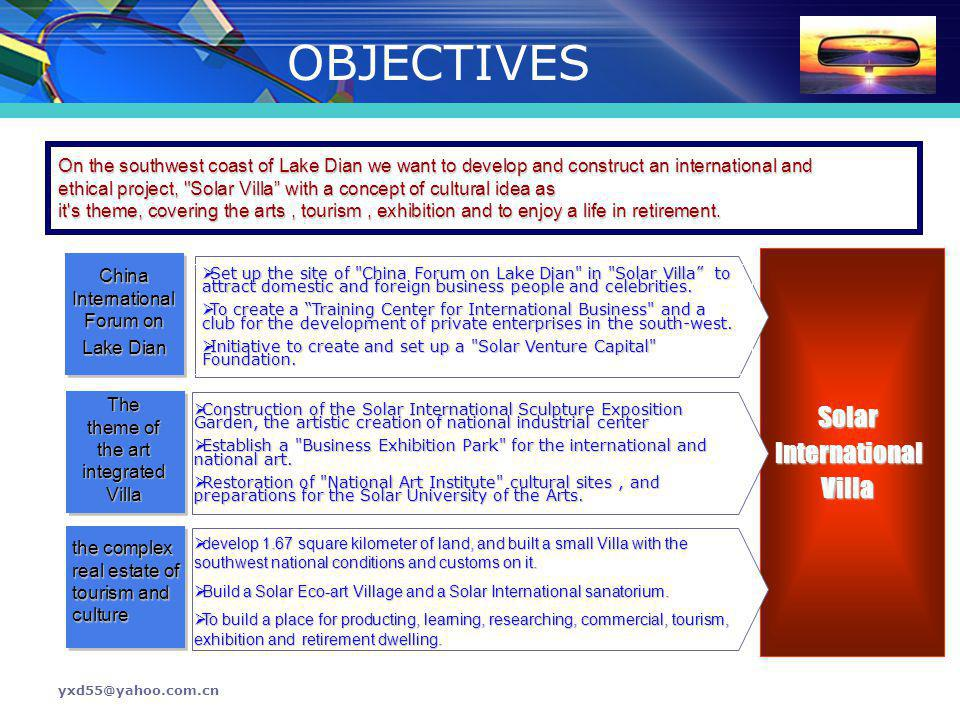 OBJECTIVES Solar International Villa