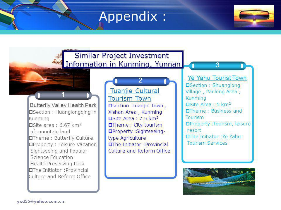 Appendix : Similar Project Investment Information in Kunming, Yunnan 3