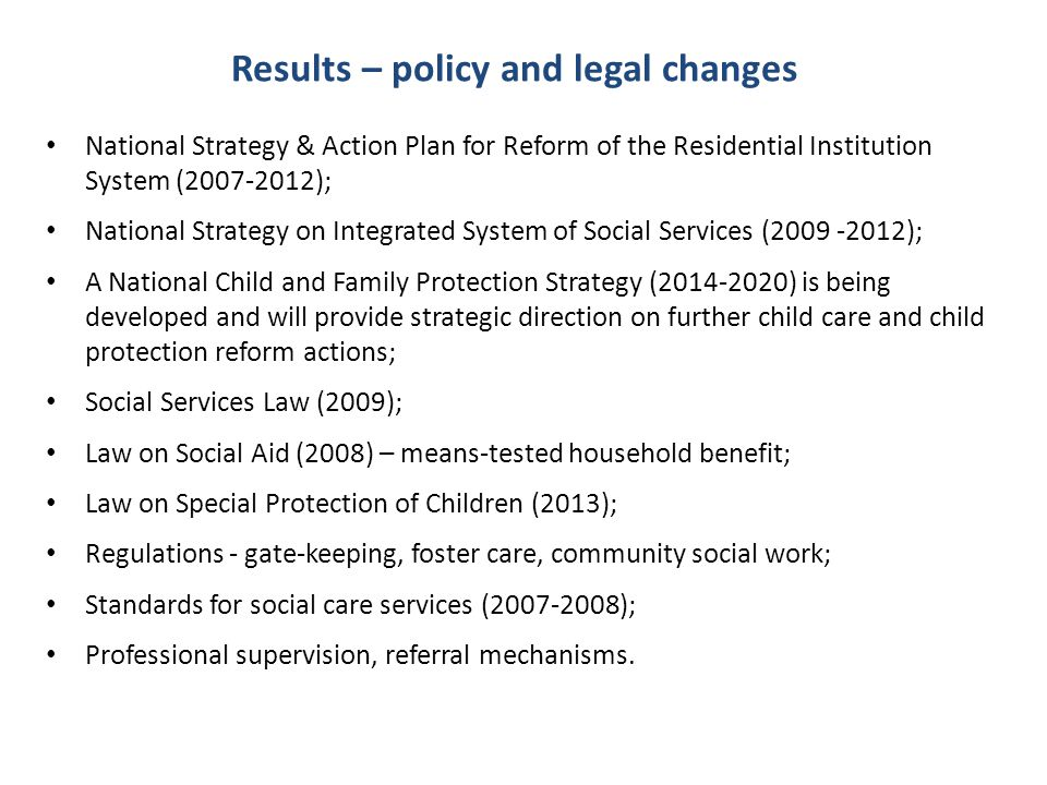 Results – policy and legal changes