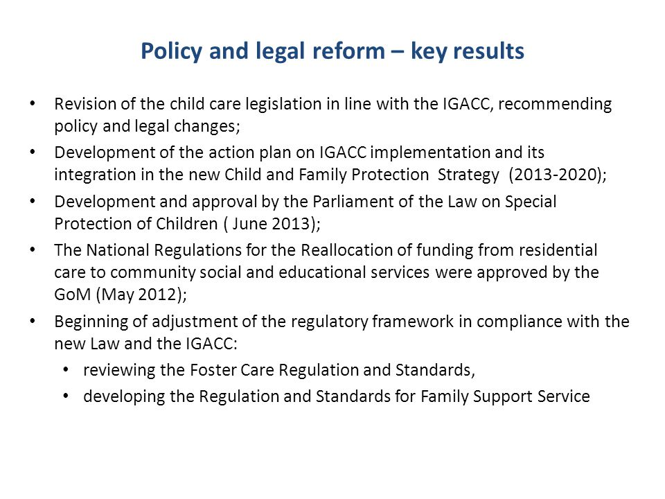 Policy and legal reform – key results