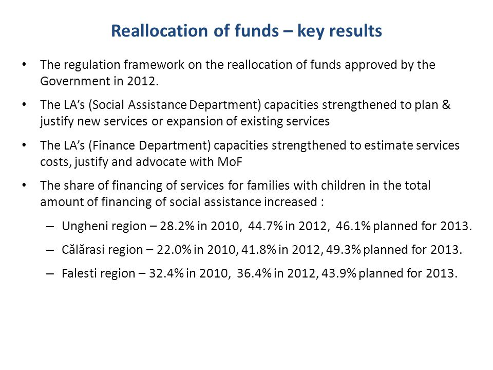 Reallocation of funds – key results