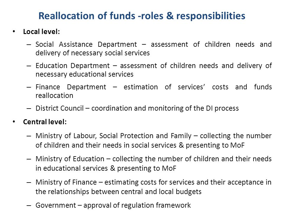 Reallocation of funds -roles & responsibilities