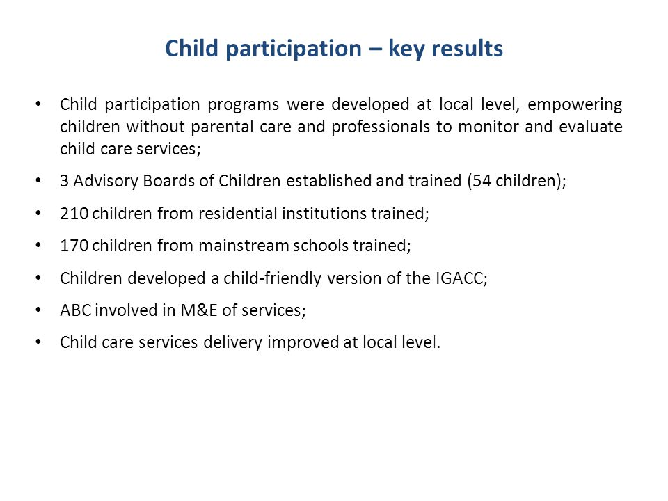 Child participation – key results