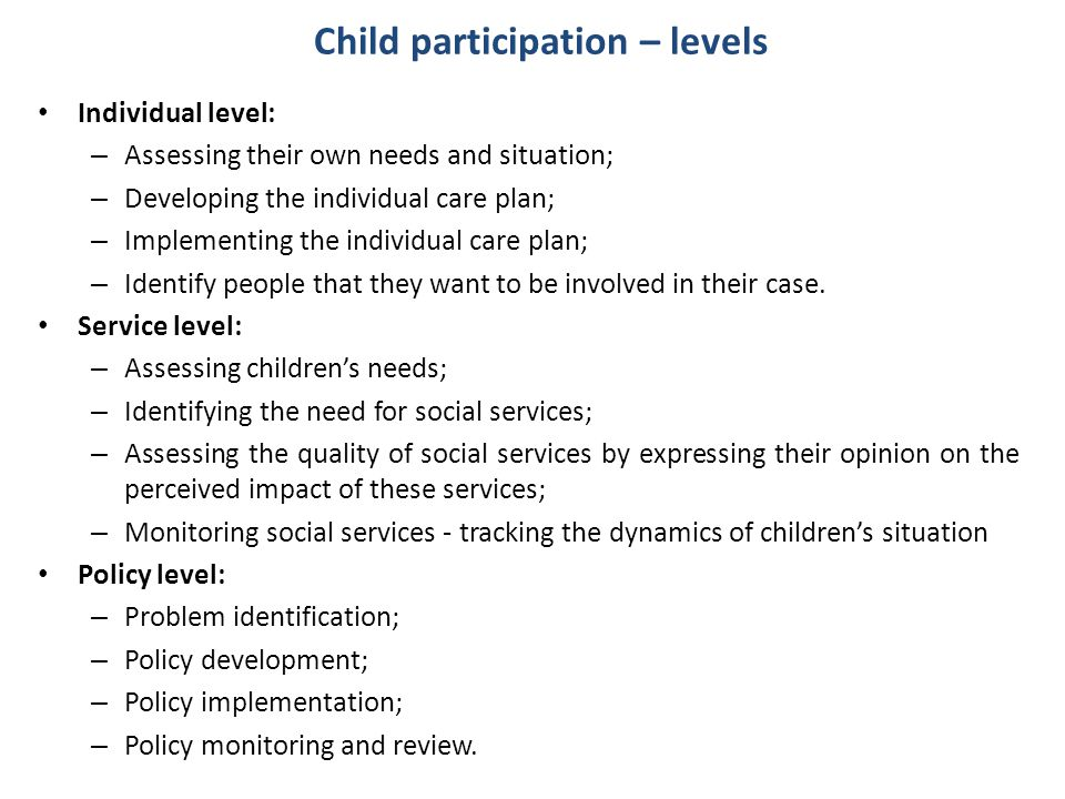 Child participation – levels
