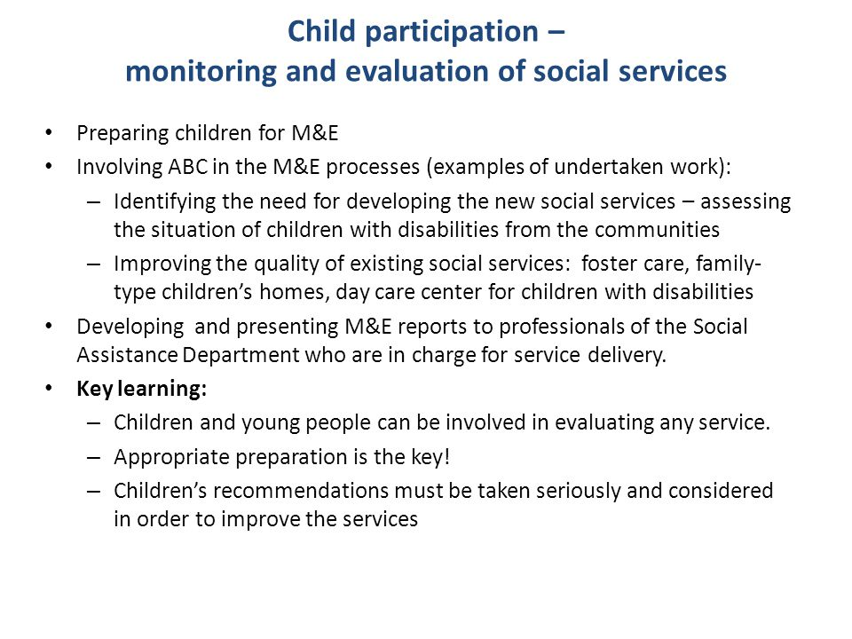 Child participation – monitoring and evaluation of social services