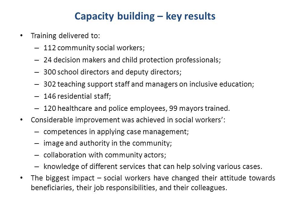Capacity building – key results