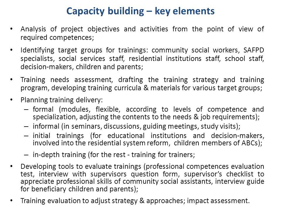 Capacity building – key elements