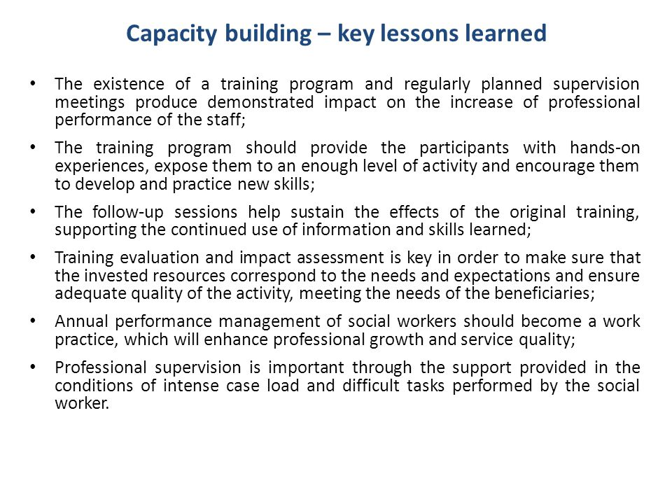 Capacity building – key lessons learned