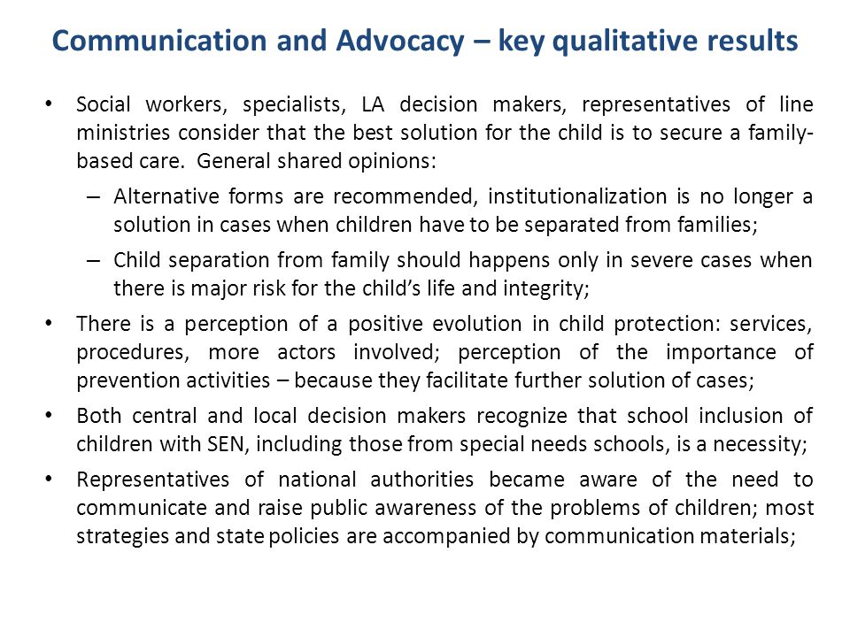 Communication and Advocacy – key qualitative results